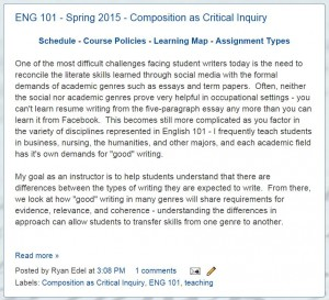English 101 - Composition as Critical Inquiry at Illinois State University.